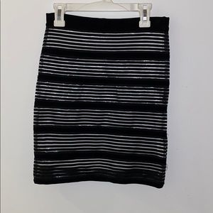 Black and white body con skirt